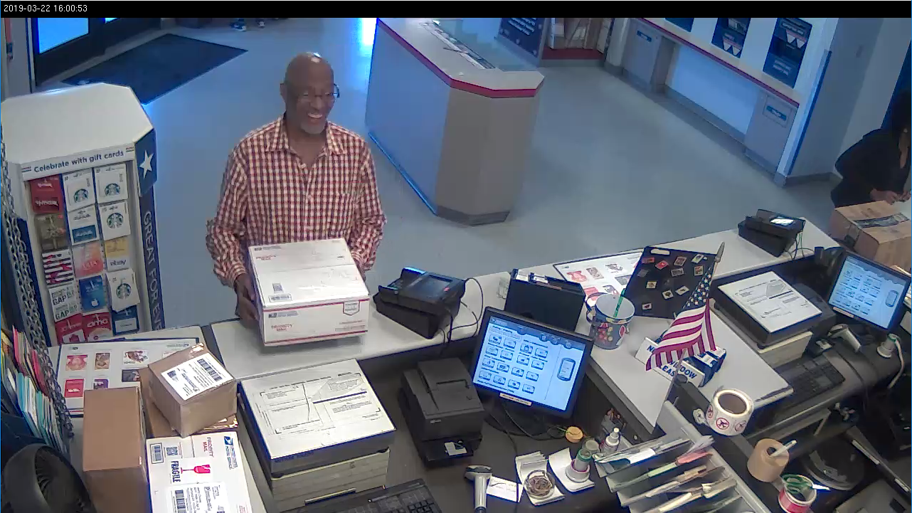 Surveillance footage from a post office shows...