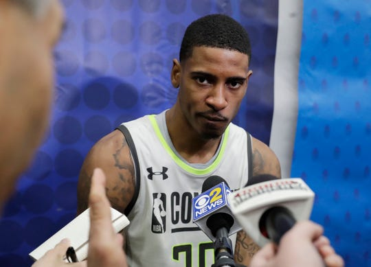 Charles Matthews speaks with the media during the second day of the NBA draft combine in Chicago, Friday, May 17, 2019.