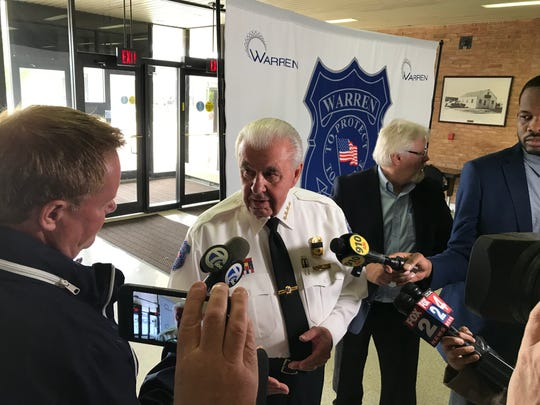 Warren Police Commissioner Bill Dwyer discusses a three-day human sex trafficking crackdown in Warren during a news conference on May 17, 2019.