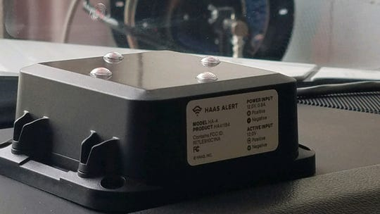 A look at the HAAS Alert System on a Rochester Hills Fire Department vehicle.