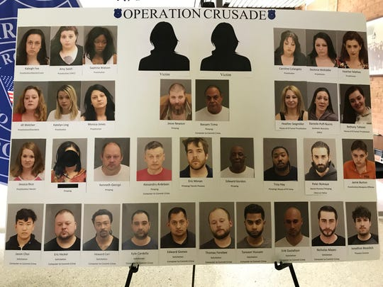 A Warren Police poster of the nearly three dozen people arrested in a three-day human sex trafficking crackdown in Warren.