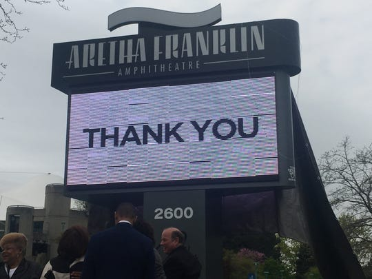 Aretha Franklin's family, Mayor Mike Duggan and the Detroit City Council unveiled the new marquee of the renamed Aretha Franklin Amphitheatre on Friday, May 17.