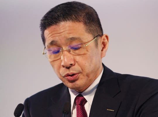 Nissan Motor Co. Chief Executive Hiroto Saikawa speaks during a press conference at its Global Headquarters in Yokohama, near Tokyo Tuesday, May 14, 2019.
