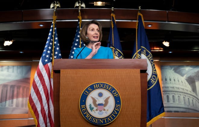House Speaker Nancy Pelosi of Calif., speaks at the Capitol in Washington.