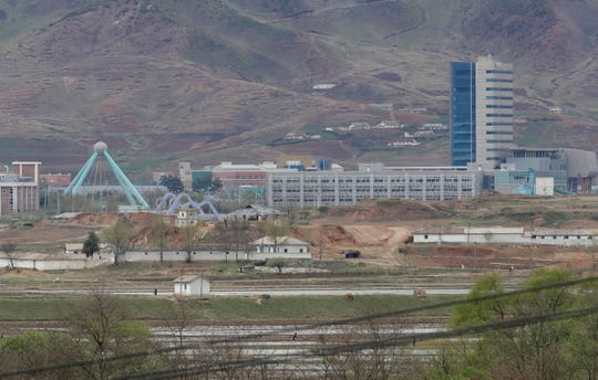 The Kaesong industrial complex in North Korea is seen from the Taesungdong freedom village inside the demilitarized zone during a press tour in Paju, South Korea.