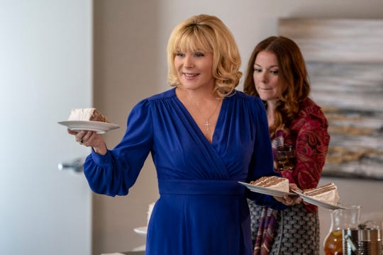 Kim Cattrall, left, and Aubrey Dollar in a scene from the network's upcoming drama 'Filthy Rich.'