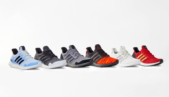 "This product image released by HBO shows various styles of Adidas x Game of Thrones Ultra Boosts sneakers inspired by HBO's ""Game of Thrones"" series."