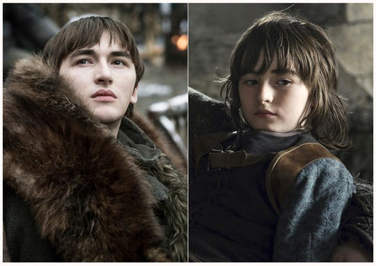 "This combination photo of images released by HBO shows Isaac Hempstead Wright portraying Bran Stark in ""Game of Thrones."""
