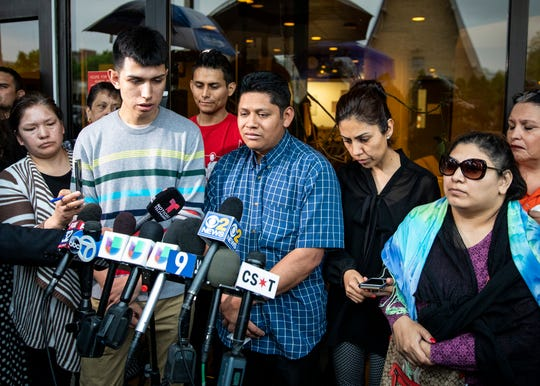 Surrounded by family members and supporters, Marlen Ochoa-Lopez's father, Arnulfo Ochoa, talks to reporters outside the Cook County medical examiner's office after identifying his daughter's body, Thursday, May 16, 2019 in Chicago.