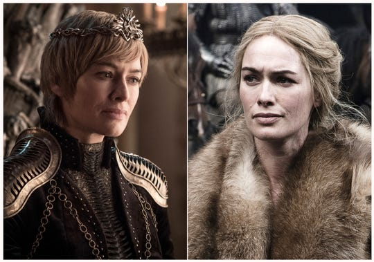"""This combination photo of images released by HBO shows Lena Headey portraying Cersei Lannister in """"Game of Thrones."""""""