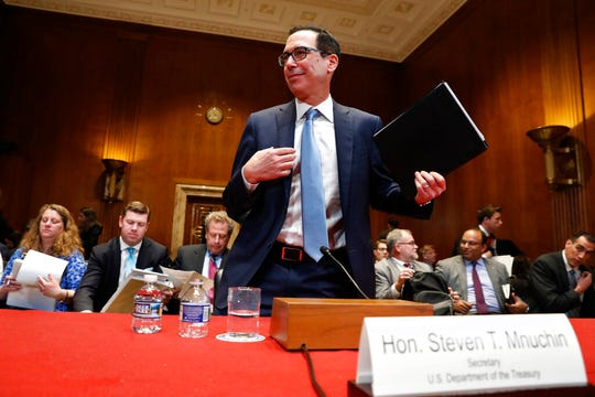 Treasury Secretary Steve Mnuchin testifies about the budget during a Financial Services and General Government subcommittee hearing, Wednesday May 15, 2019, on Capitol Hill in Washington.