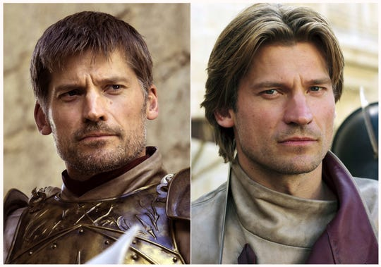 """This combination photo of images released by HBO shows Nikolaj Coster-Waldau portraying Jaime Lannister in """"Game of Thrones."""""""