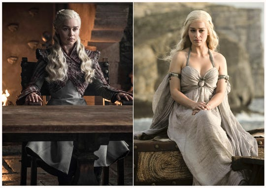 "This combination photo of images released by HBO shows Emilia Clarke portraying Daenerys Targaryen in ""Game of Thrones."""