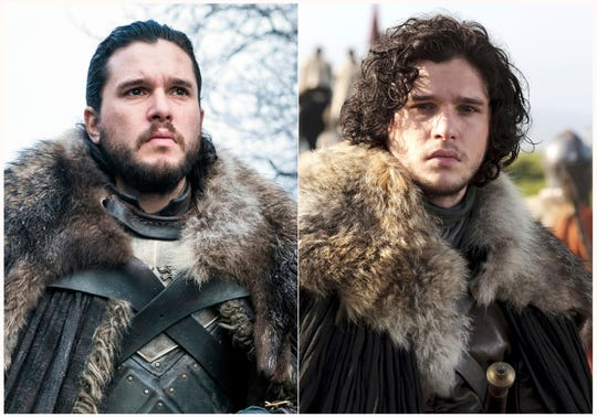 "This combination photo of images released by HBO show Kit Harington portraying Jon Snow in ""Game of Thrones."""