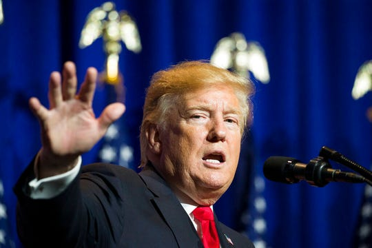 President Donald Trump speaks at the National Association of REALTORS Legislative Meetings and Trade Expo, Friday, May 17, 2019, in Washington.  The White House confirmed Friday the U.S. Commerce Department has concluded imported vehicles and parts from Europe, Japan and other nations are a national security threat.