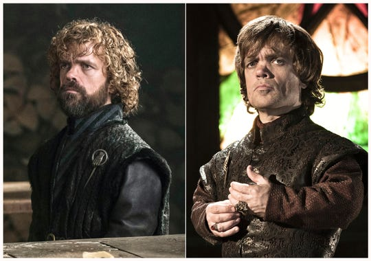 """This combination photo of images released by HBO shows Peter Dinklage portraying Tyrion Lannister in """"Game of Thrones."""""""
