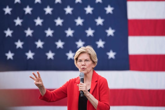Democratic presidential candidate Sen. Elizabeth Warren, D-Mass., addresses a campaign rally at George Mason University in Fairfax, Va., Thursday, May 16, 2019.