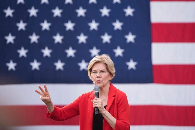 Democratic presidential candidate Sen. Elizabeth Warren, D-Mass., addresses a campaign rally at George Mason University in Fairfax, Va., Thursday, May 16, 2019.