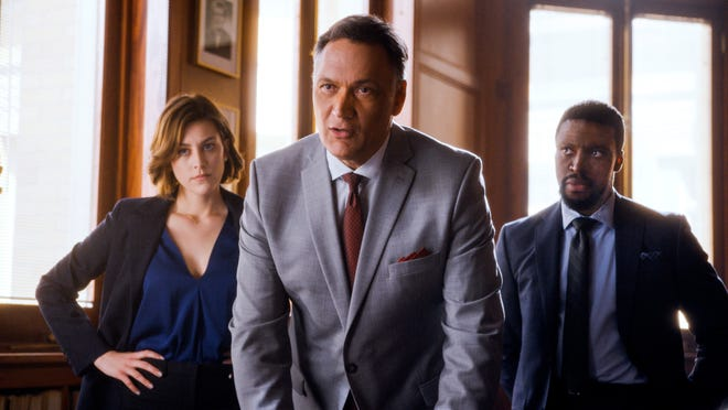 "Caitlin McGee, Jimmy Smits and Michael Luwoye in a scene from ""Bluff City Law."""