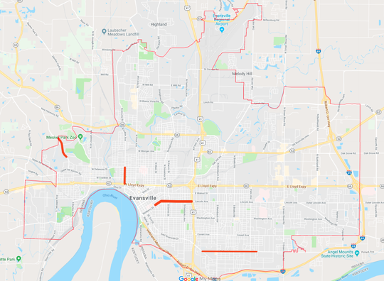 Map of recently completed Evansville road projects.