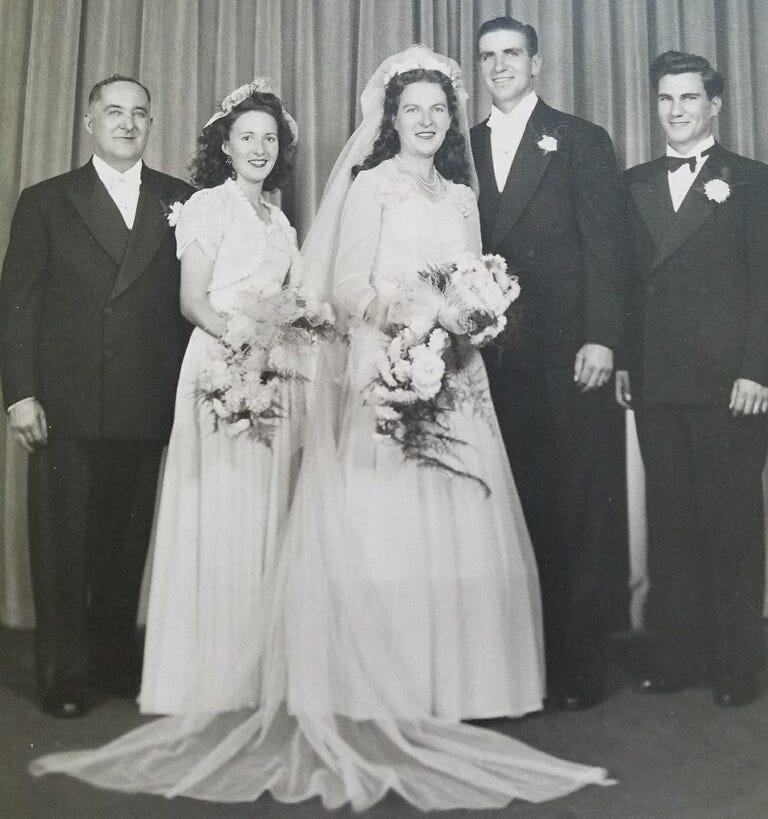 Carl and Dolores Mann pose on their wedding day, Sept. 1, 1945.