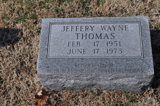 Jeffery Wayne Thomas' grave rests in Oak Hill Cemetery in Evansville.