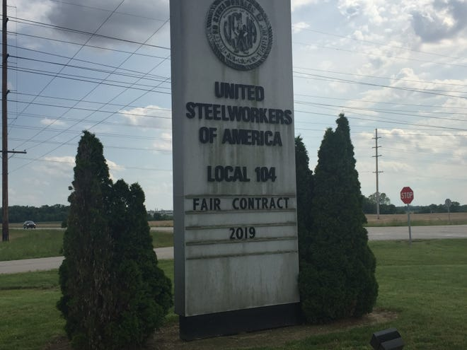 "The marquee at the United Steelworkers of America hall in Warrick County calls for a ""fair contract."""