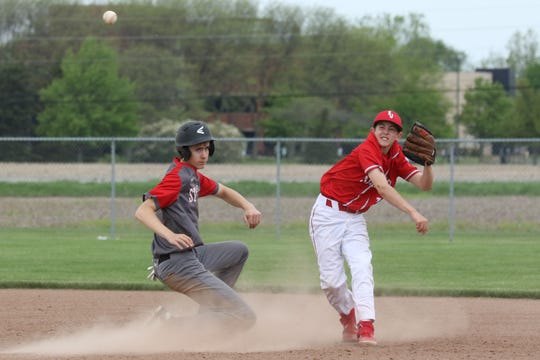 St. Joseph Central Catholic's Tyler Kocsis throws to first after getting a force at second.
