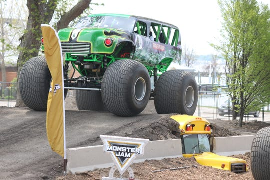 The new Monster Jam Thunder Alley exhibit at Cedar Point will give guests the opportunity to ride in a real monster truck and do so on top of a school bus.