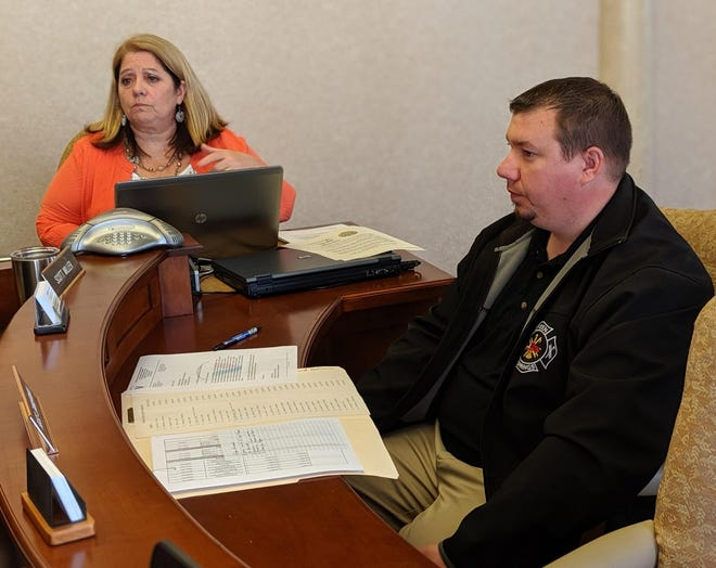 Sandusky County Veterans Service Office Executive Director Jake Allison discusses with Sandusky County Commissioners a proposed Vietnam Veteran Memorial to be placed on Fremont's east and west end.