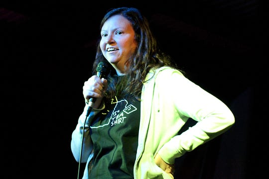 Mandy Appleton, a comedian from South Carolina, performs her routine at the weekly comedy showcase held at The Colorado Room Thursday evening.
