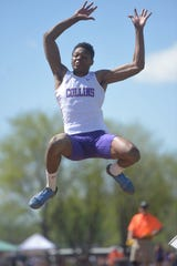 Fort Collins High School's Micaylon Moore won the Class 5A long jump at the Colorado state championships at Jeffco Stadium in Lakewood on Friday, May 17, 2019.