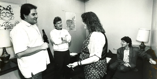 From the Coloradoan vault: Wende Curtis, manager of the Comedy Works in Fort Collins, talks with comics Scott Kennedy, Dave Anderson and Scott Bruner in September 1989. Comedy Works North would end up closing in late 1991, leaving Fort Collins without a dedicated comedy club for nearly 30 years.