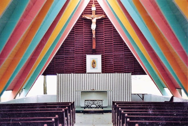 An interior  photo of Guadalupe Chapel believed to have been taken in the 1980s.