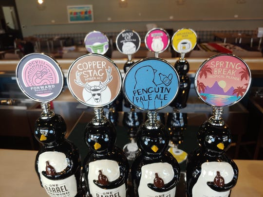 The tap handles at One Barrel Brewing Co. in Egg Harbor are mounted atop the penguins that are kind of a symbol or mascot for the craft brewery.