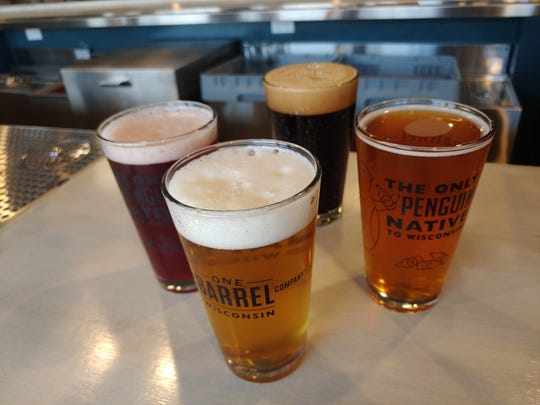 Among the craft brews on tap at One Barrel Brewing Co. in Egg Harbor are, clockwise from top, its Breakfast Beer coffee and milk stout, Gentry's Hard Cider, Up North Wisconsin Lager and Forward cherry kolsch.