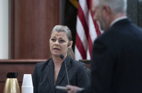 Forensic Scientist Stacy Jones is questioned May 16 by 11th Circuit deputy Solicitor Shawn Graham during the trail of Tim Jones in Lexington. Jones processed evidence from Tim Jones' car. Timothy Jones, Jr. is accused of killing his 5 young children in 2014. Jones, who faces the death penalty, has pleaded guilty by reason of insanity.