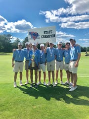 The Christ Church boys golf team, from left, Jack Roberts, Walker Jennings , Coach Rooke, Robert Thompson, William Jennings, Jay Lowder, Jack Wofford, and Rafe Reynolds won the Class AA state championship