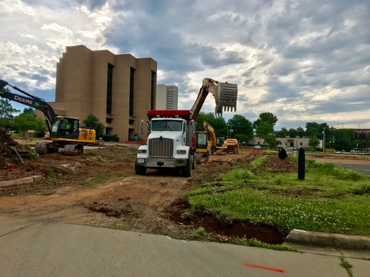 Construction is underway on the Canvas development which will include new townhomes, apartments and renovations to the former BB&T building.