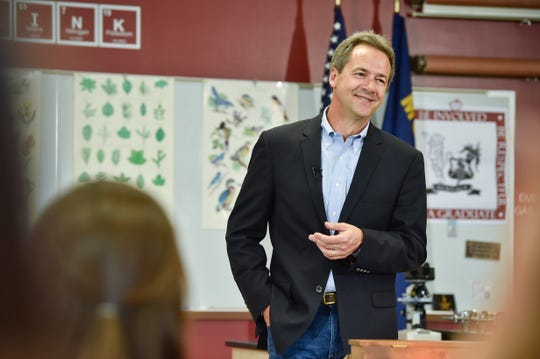 Montana Gov. Steve Bullock, Democratic presidential candidate, officially announces his campaign for president Tuesday, May 14, 2019, at Helena High School in Helena, Mont. (Thom Bridge/Independent Record via AP)