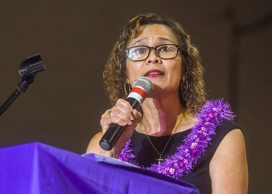 Principal Lynda Hernandez-Avilla has been reassigned during an investigation at George Washington High School. She is shown here at the Class of 2018 graduation exercise at the University of Guam Calvo Field House on June 1, 2018.