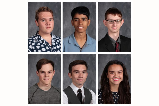 Henderson County High School valedictorians and salutatorians. Valedictorians are, top row, from left: DJ Banks, Alex Edwin and Logain North. Salutatorians are, bottom row, from left: Alex Chandler, Harrison Jenkins and Kate Kelsey.