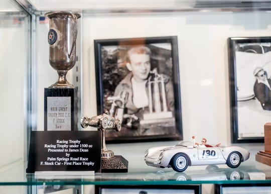 A first place trophy for under 1500 cc was presented to James Dean by the Palm Springs Road Race and is on display at the Fairmount Historical Museum, located at 203 E Washington St, Fairmount, Ind., on May 14, 2019. Dean was born in Marion Ind., but moved to Fairmount Ind., at the request of his aunt and uncle, Ortense and Marcus Winslow, so that he could be raised on the family farm after the death of his mother.