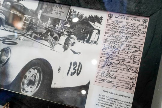 James Dean and his German Porsche mechanic, Rolf WŸtherich, drive to a race in Deans Porsche Spyder, before being issued the speeding ticket, also shown,  an hour and a half before the crash, on display at the Fairmount Historical Museum, located at 203 E Washington St, Fairmount, Ind., on May 14, 2019.