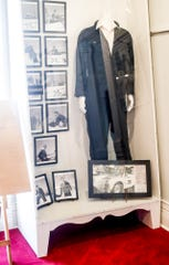 A custom black racing suit worn by actor and budding racer James Dean is on display at the Fairmount Historical Museum, located at 203 E Washington St, Fairmount, Ind..