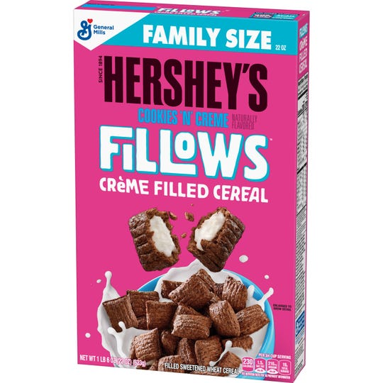 General Mills introduces Hershey's Cookies 'n' Creme Fillows cereal. The cereal debuts in Indianapolis-area Walmart stores on May 20-21.
