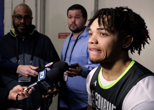 Carsen Edwards from Purdue, speaks with the media at the NBA draft basketball combine day one in Chicago, Thursday.