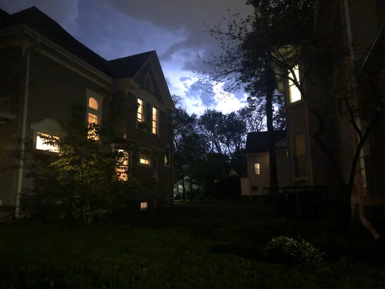 A thunderstorm comes toward Iowa City on Thursday, May 17, 2019.
