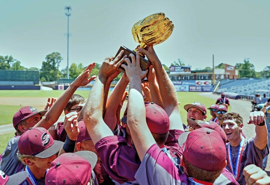 Smithville players celebrate following the Seminoles 1-0 win in Game Two of the MHSAA 1A Baseball Championship held at the Trustmark Park in Pearl, MS, Friday May 17th, 2019.
