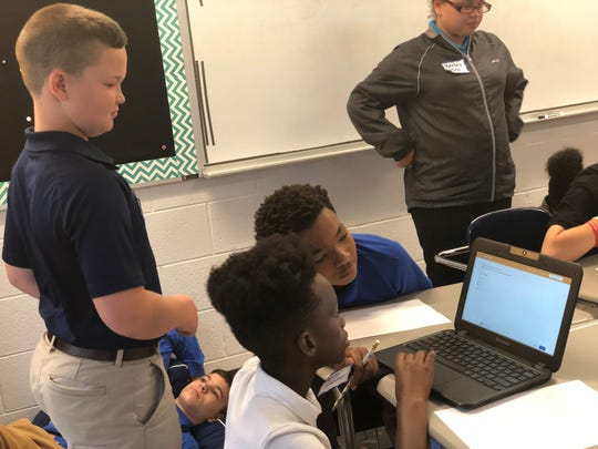 Sixth graders guide visiting fifth graders on how to use Summit Learning at Chester County Jr. High.